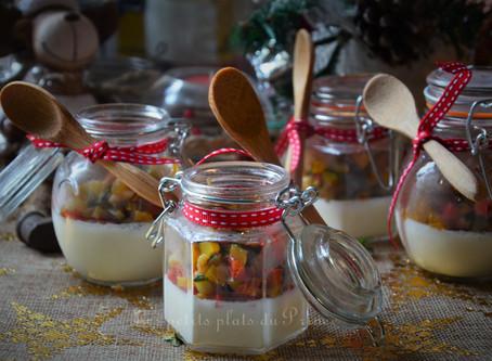 Verrines Pannacotta crème d'ail et légumes du soleil