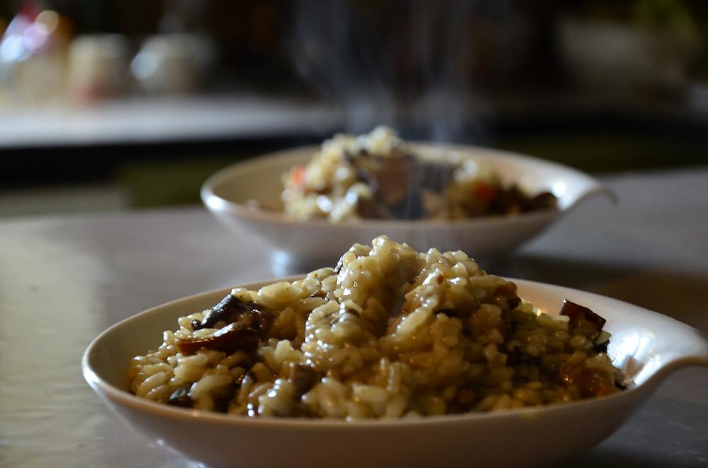 Risotto champignons et bouillon de poule