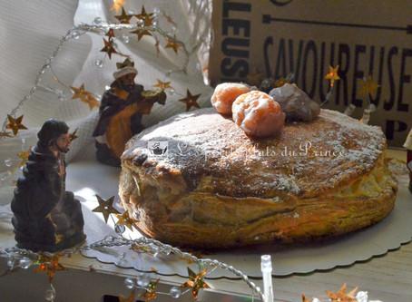 Galette amandine à la crème de marrons et marrons glacés