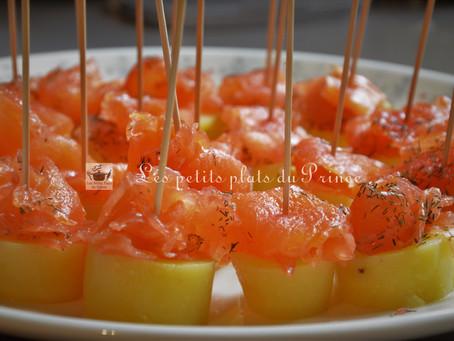 Bouchées apéritives gourmandes au saumon gravlax maison