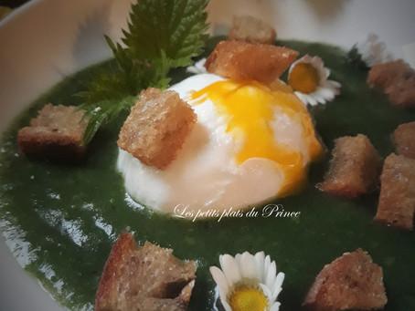 Velouté d'orties, œuf poché et croutons