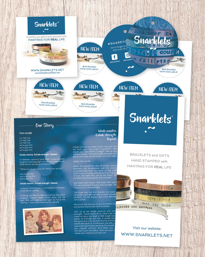 Business Card, Tags, Stickers + Brochure