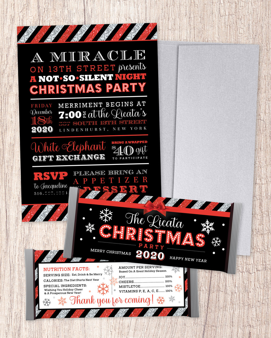 Christmas Party Invitation + Candy Bar Wrappers