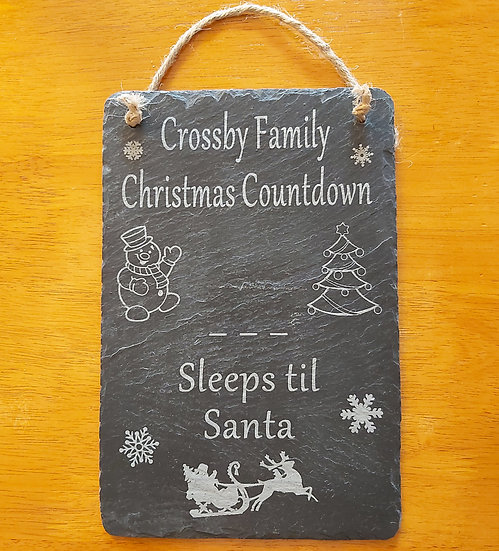 Hanging Sleeps til Santa slate