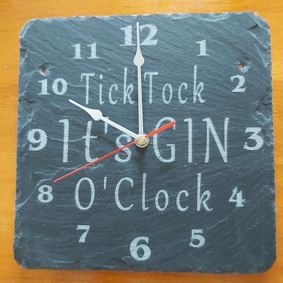 Gin O'Clock Slate Clock