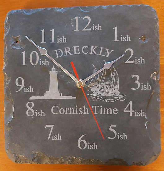 Dreckly clock slate etched Lighthouse design