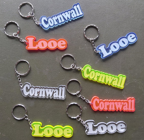 Name or word etched key ring