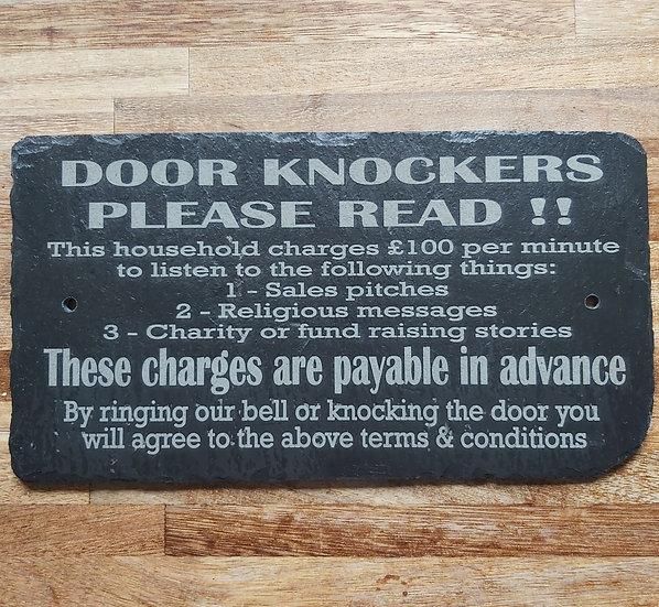 Etched slate door knocker plaque.