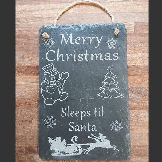 Hanging Merry Christmas Sleeps til Santa slate