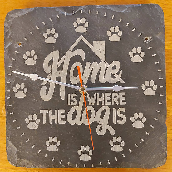 Home Is Where The Dog Is Slate Clock