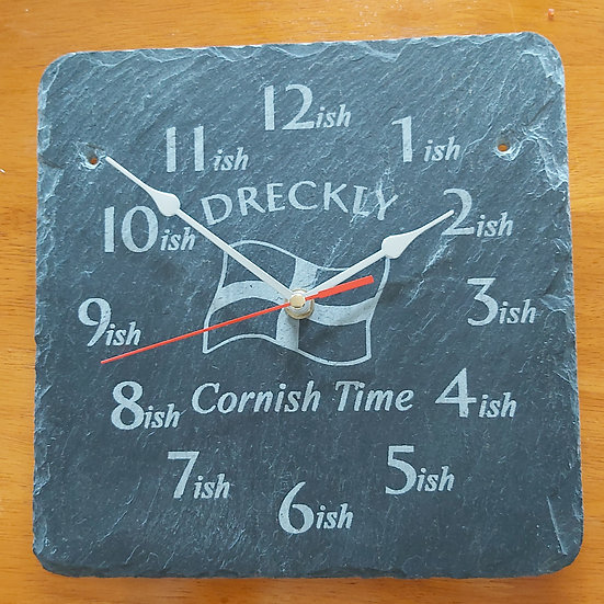 Dreckly clock slate etched flag design