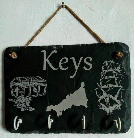 Slate Key Holder Cornish Key Hook Cornwall Key Hanger