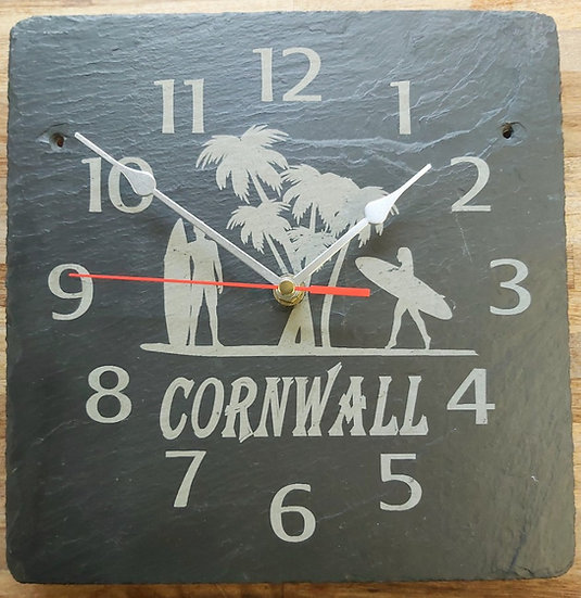Cornwall surfing  slate etched clock