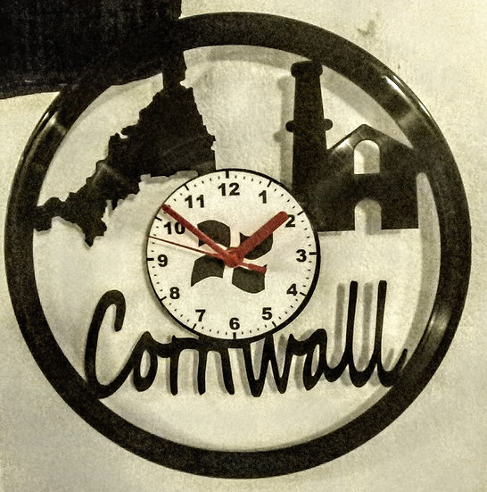 Upcycled vinyl record clock - Cornwall design