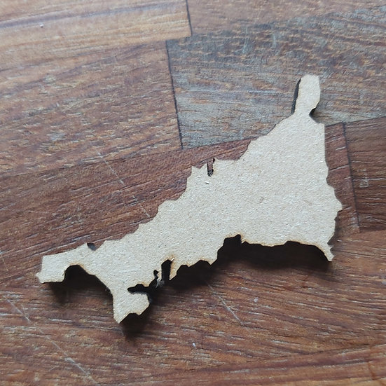 Pack of 10 MDF Cornwall map shape