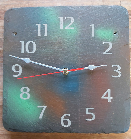 Spray paint slate clock