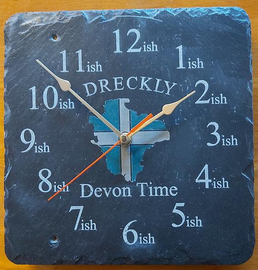 Dreckly Devon clock slate etched flag / map design