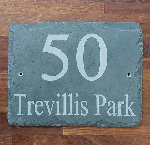 Slate etched house sign