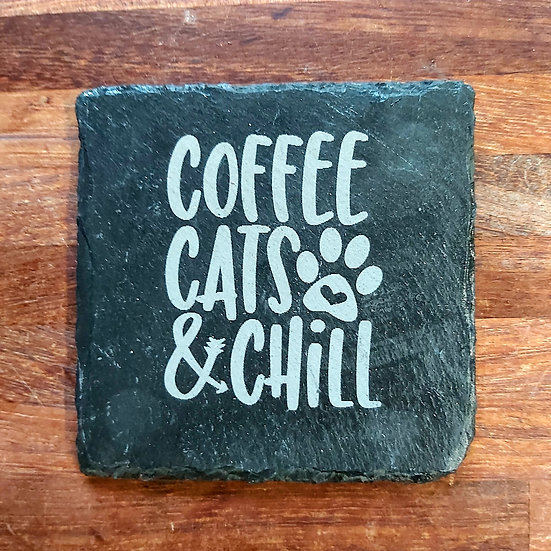 Cat Coaster - Coffee cats & chill