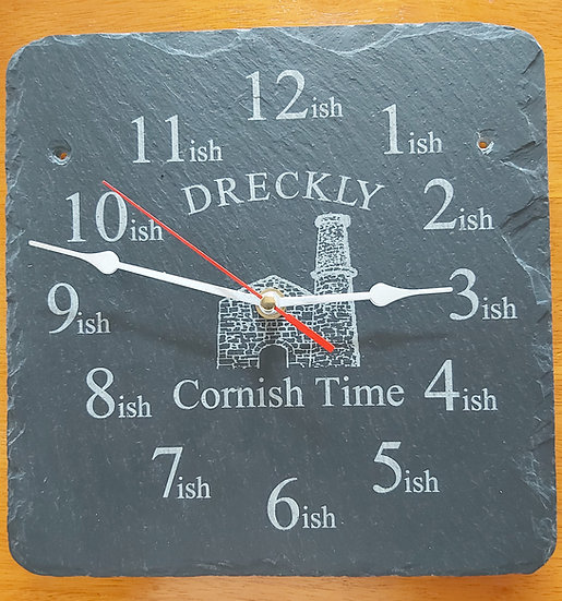 Dreckly clock slate etched Cornwall Tinmine design