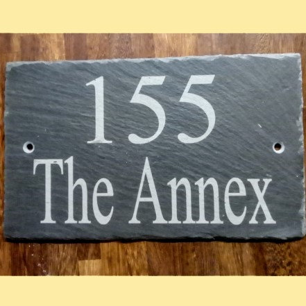 Slate etched house sign 200 mm x 100 mm