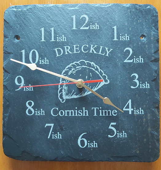 Pasty Dreckly slate etched clock