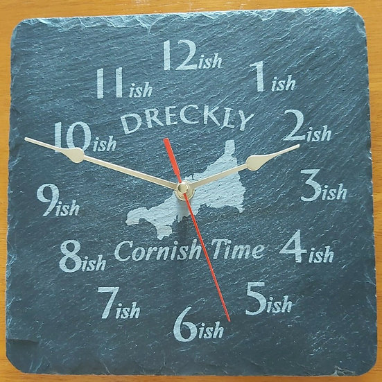 Dreckly clock slate etched Cornwall map design