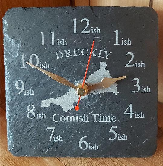 Cornwall Dreckly slate clock free standing mantelpiece clock