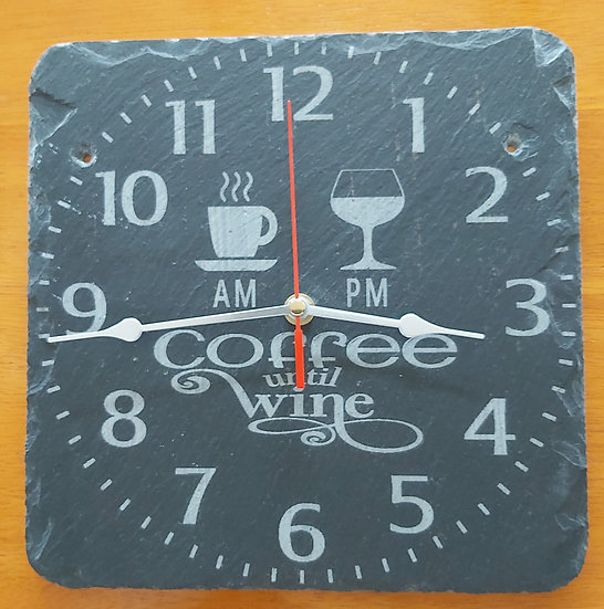 Coffee Until Wine Slate Clock