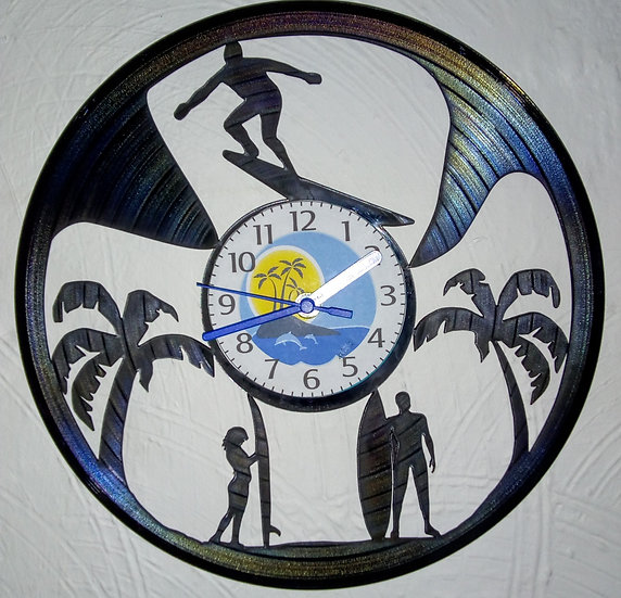 Upcycled vinyl record clock - Surfing design