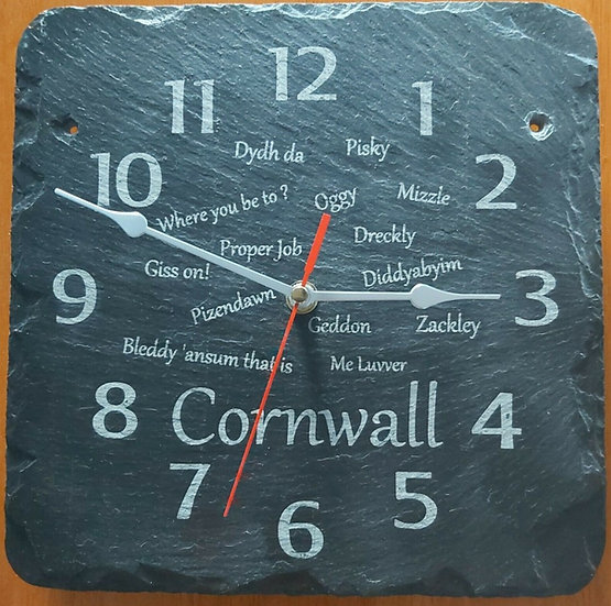 Slate etched Cornwall phrase clock