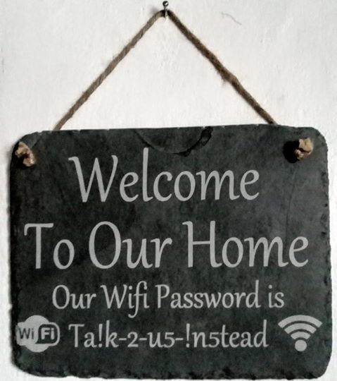Slate Etched Wifi password plaque.