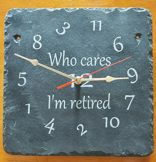 Slate etched retirement clock