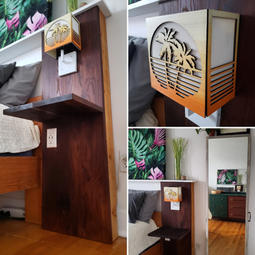 Bedside Table with Custom Light Shade