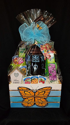 Gardener's Delight- hand painted monarch butterfy wooden crate holds beautiful bird feeder, accessories and plenty of seeds to draw in your favorite butterflys!