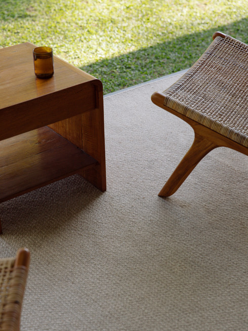 Japanese outdoor design with natural handmade eco sustainable jute rug