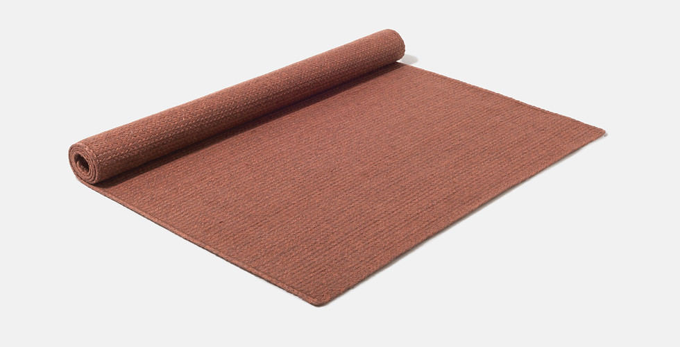 Made to order natural terracotta burgundy rust red eco friendly rugs ethically handwoven from 100% raw jute