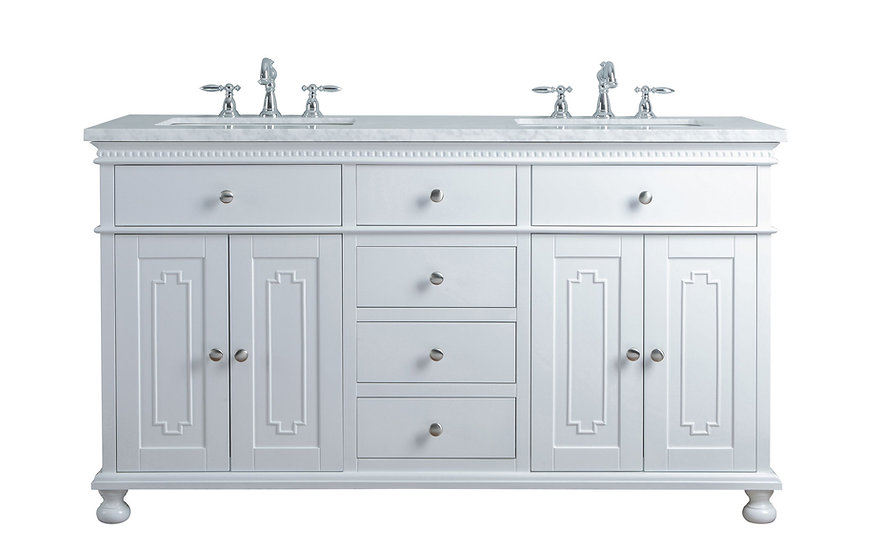 "Abigail Embellished 60"" White Double Sink Vanity"