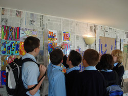 Pupils viewing their work