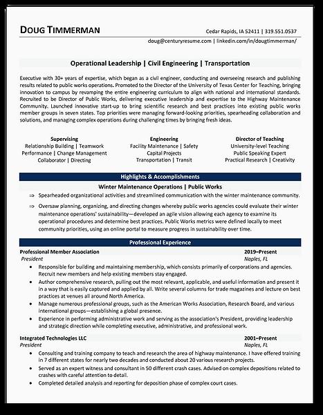 Century Resume - Executive Resume Exampl