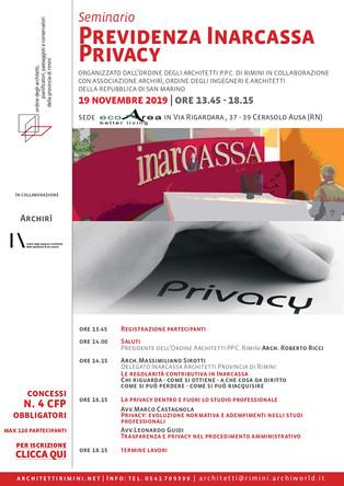 Previdenza Inarcassa e privacy 19_11_2019