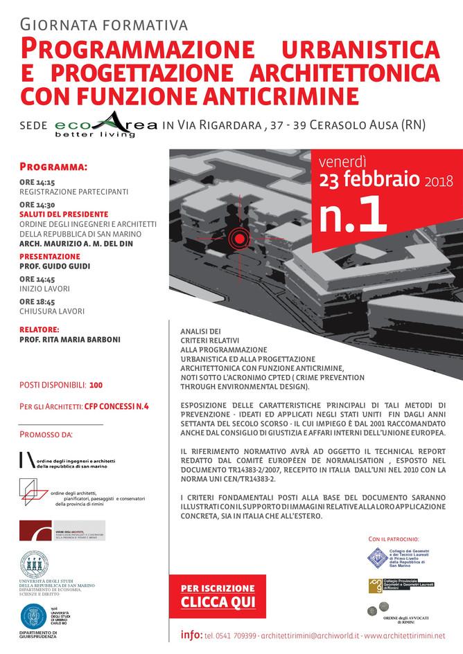 Programmazione Urbanistica e progettazione architettonica con funzione anti crimine 23_02_2018