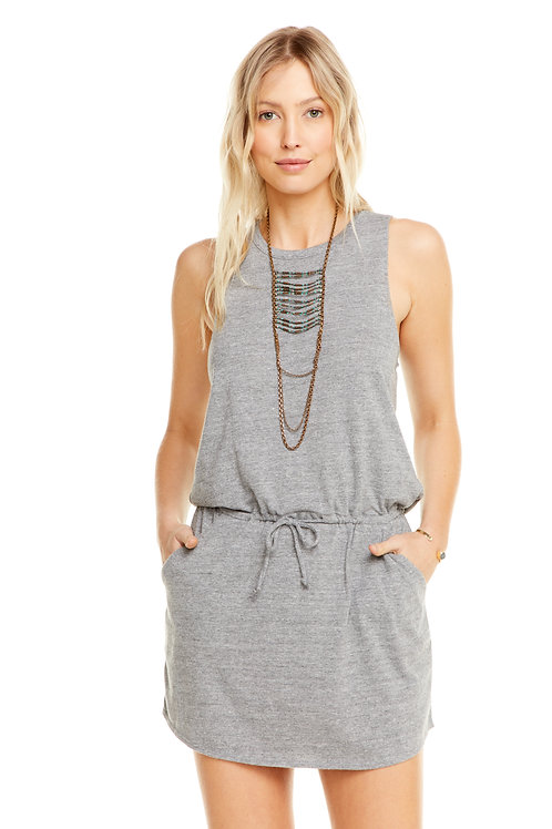 Grey drawstring dress with open back: Chaser