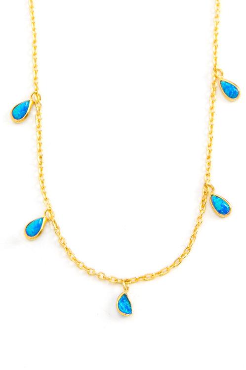 Blue Round Opal Choker