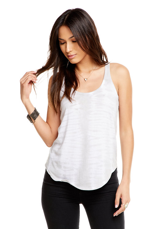 Open back shirttail tank: Tie Die by Chaser