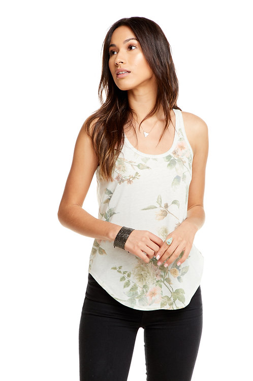 Jersey open back tank: floral by Chaser