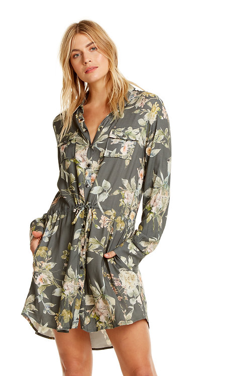 Floral Button down Shirt dress: Chaser