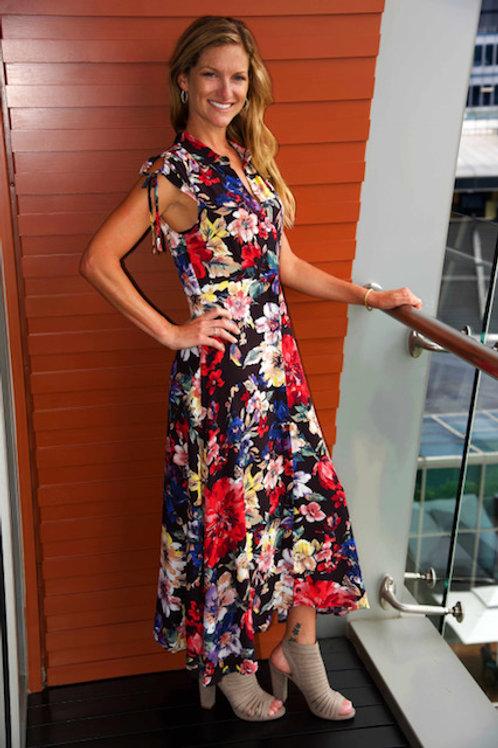 Singapore Sling Floral Midi Dress