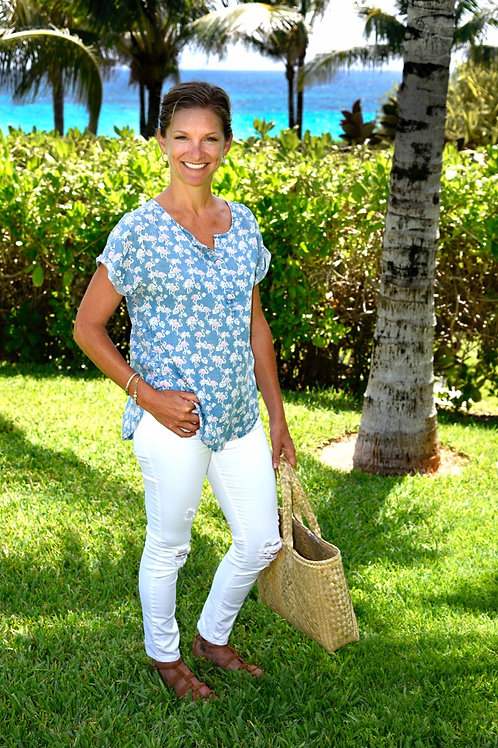 Blue Flamingo Popover top: Billy T