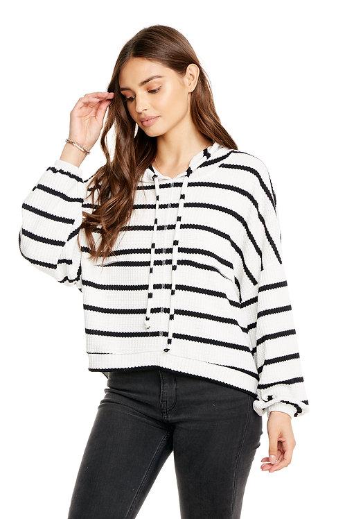 Black & White striped thermal hoodie
